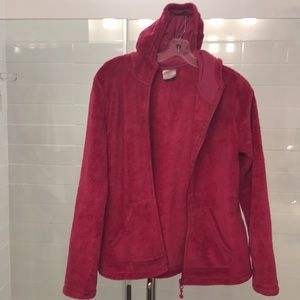 Fuzzy warm 100% polyester jacket with hood